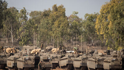 Israeli soldiers at a staging area in Southern Israel, near the border with neighboring Palestinian Gaza Strip on November 13, 2019. Photo by Yonatan Sindel/Flash90