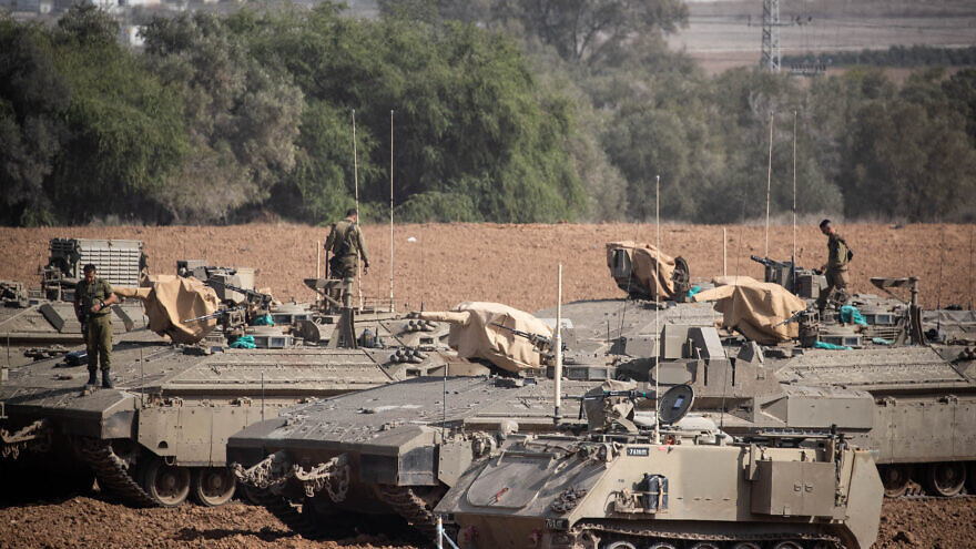 Israeli soldiers at a staging area in southern Israel near the border with the Gaza Strip, Nov. 13, 2019. Photo by Yonatan Sindel/Flash90.