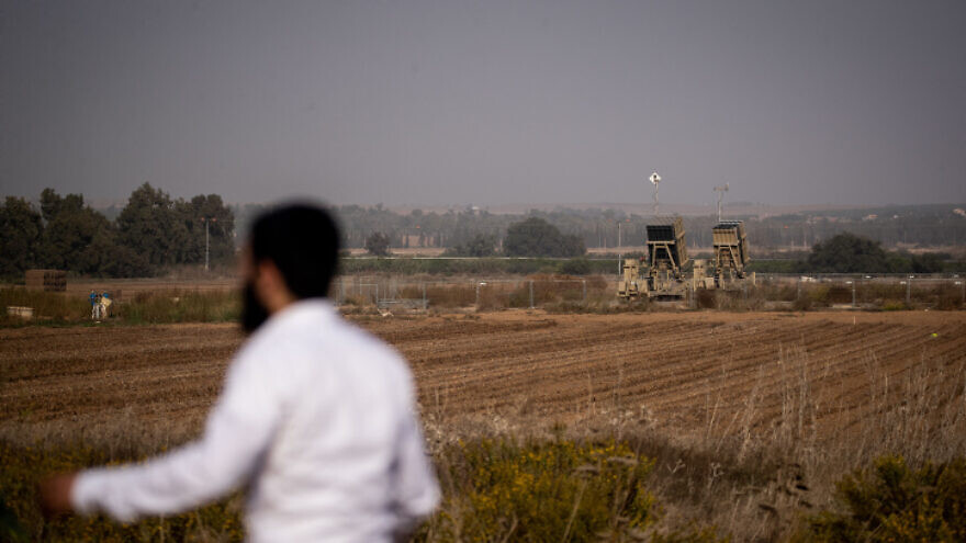An Iron Dome battery is seen near the town of Sderot in southern Israel, near the border with Gaza Strip, on Nov. 13, 2019. Photo by Yonatan Sindel/Flash90