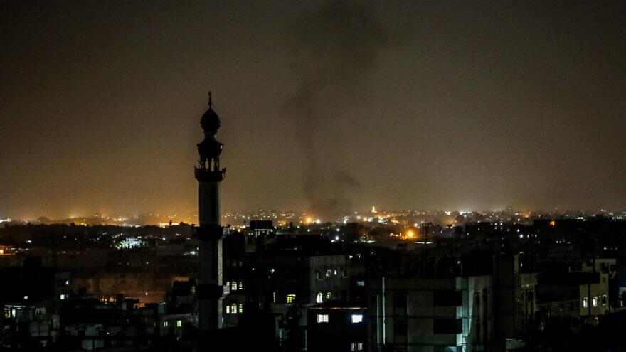 Smoke rises after an Israeli airstrike in Rafah in the southern Gaza Strip, on Nov. 13, 2019. Photo by Abed Rahim Khatib/Flash90.