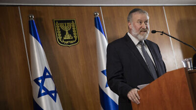 Attorney General Avichai Mandelblit holds a press conference at the Ministry of Justice in Jerusalem, announcing his decision that Israeli Prime Minister Benjamin Netanyahu will stand trial for bribery, fraud and breach of trust in three different corruption cases, dubbed by police Case 1000, Case 2000 and Case 4000, Nov. 21, 2019. Photo by Hadas Parush/Flash90.
