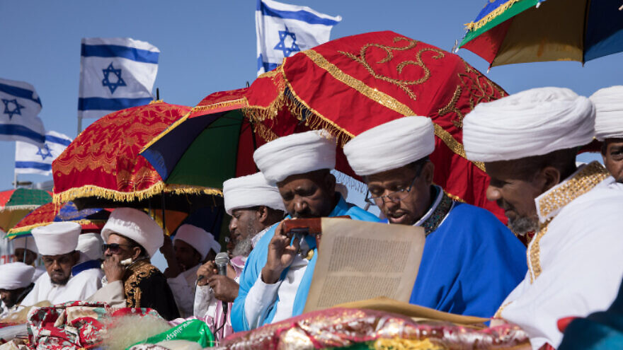 Thousands of Ethiopian Jews take part in a prayer of the Sigd holiday on the Armon Hanatziv Promenade overlooking Jerusalem on Nov. 27, 2019. Photo by Olivier Fitoussi/Flash90.