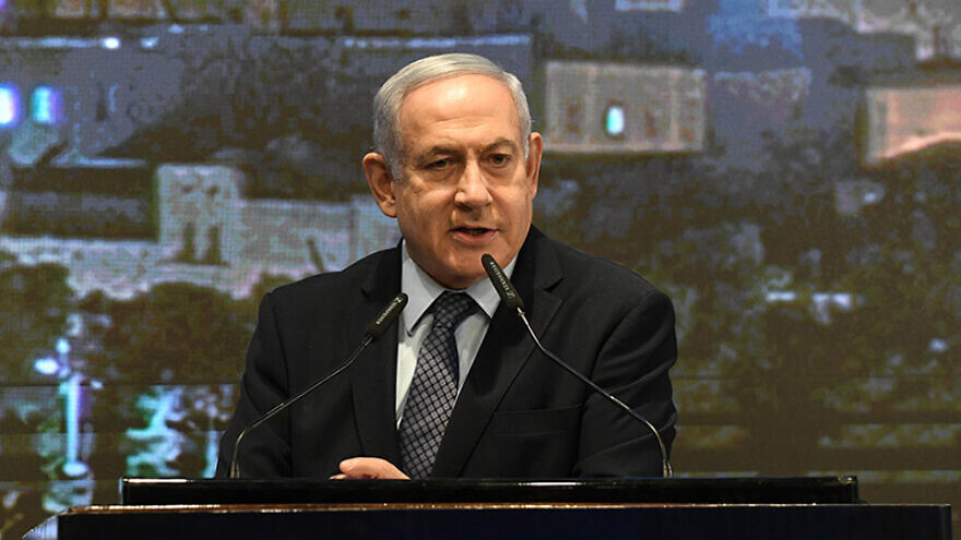 Israeli Prime Minister Benjamin Netanyahu speaks at the Christian Media Summit at the Friends of Zion Museum in Jerusalem on Nov. 3, 2019. Photo: GPO/Amos Ben-Gershom.