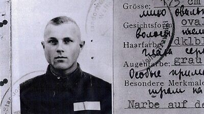 John Demjanjuk's supposed Nazi ID card from Trawniki, which trial experts said appeared authentic. Later investigations called the authenticity into question, when it was said to be a KGB forgery, 1943. Credit: Wikimedia Commons.