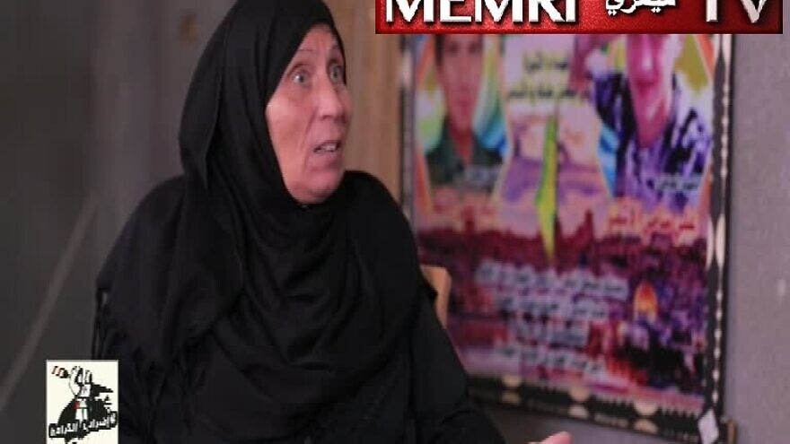 """Umm Iyad al-Ashqar, the mother and aunt of two Palestinian """"martyrs,"""" during an Oct. 28, 2019 TV interview. (MEMRI)"""
