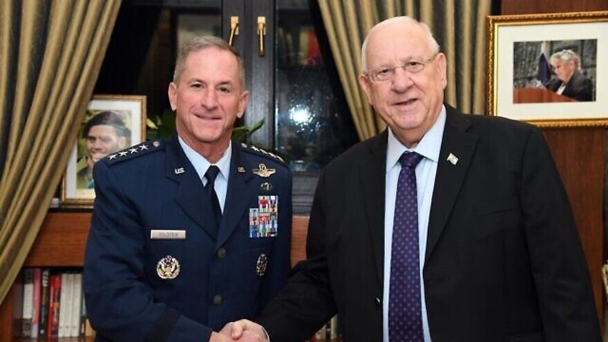 U.S. Air Force Chief of Staff David Goldfein meets with Israel's President Reuven Rivlin at the Presidents's Residence in Jerusalem on Nov. 14, 2019. Credit: Haim Zach/GPO.