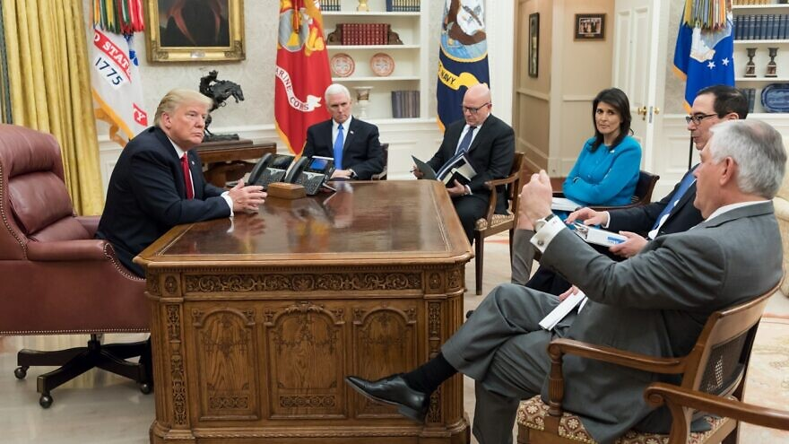 U.S. President Donald Trump, joined by Vice President Mike Pence, meets with U.S. Ambassador to the United Nation Nikki Haley, Secretary of State Rex Tillerson and Secretary of the Treasury Steve Mnuchin in the Oval Office at the White House on Jan. 10, 2018. Credit: Official White House photo by D. Myles Cullen.