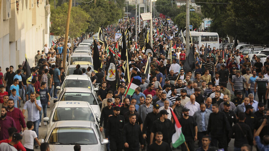 Palestinian Islamic Jihad activists participate in a march to mark the anniversary of the 32nd founding of the Jihad Organization in Gaza City, on Oct. 5, 2019. Photo by Hassan Jedi/Flash90.