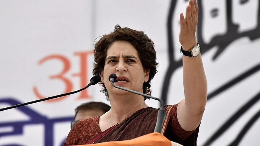 Indian politician Priyanka Gandhi Vadra speaks at Mandi Samiti Ground in Uttar Pradesh, India, on April 15, 2019. Credit: Indian National Congress.