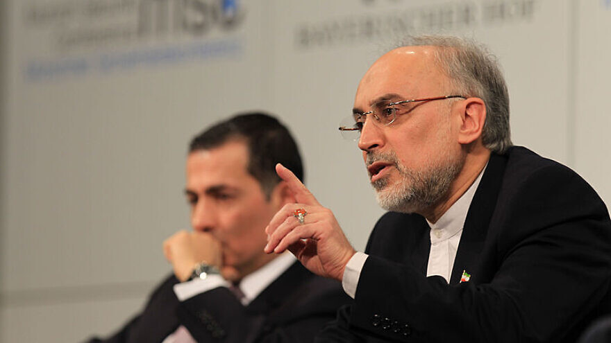 Then-Iranian Foreign Minister Ali Akbar Salehi (right) speaks during a panel discussion on Iran at the 49th Munich Security Conference, on Feb. 3, 2013. Credit: Florian Wüst via Wikimedia Commons.
