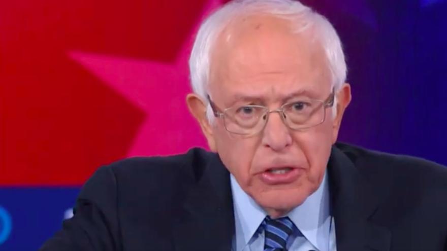 Sen. Bernie Sanders (I-Vt.) at the fifth 2020 Democratic presidential primary debate in Atlanta on Nov. 20, 2020. Source: Screenshot.