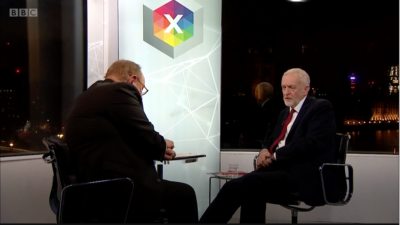 In a BBC interview with Andrew Neil, British Labour Party leader Jeremy Corbyn is pressed over his handling of anti-Semitism within his party, Nov. 26, 2019. Source: Screenshot.