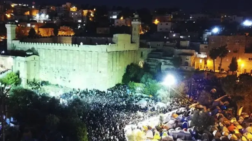 Tens of thousands of Jews converged on Hebron for Parshat Chayei Sarah, the weekly Torah portion describing the death of the Jewish matriarch, Sarah, and her husband Abraham's purchase of a burial plot for her in Hebron, Nov. 22, 2019. Source: IDF