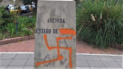 A menorah monument vandalized with a swastika in Bogotá, the capital of Colombia, on Nov. 1, 2019. Credit: Christian Cantor/Twitter.
