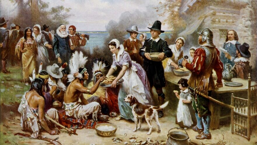 An artist's interpretation of the first Thanksgiving in Plymouth, Mass. Credit: Wikimedia Commons.