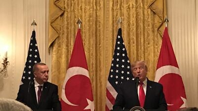 Turkish President Recep Tayyip Erdoğan and U.S. President Donald Trump at a White House press conference on Nov. 13, 2019. Photo by Jackson Richman/JNS.