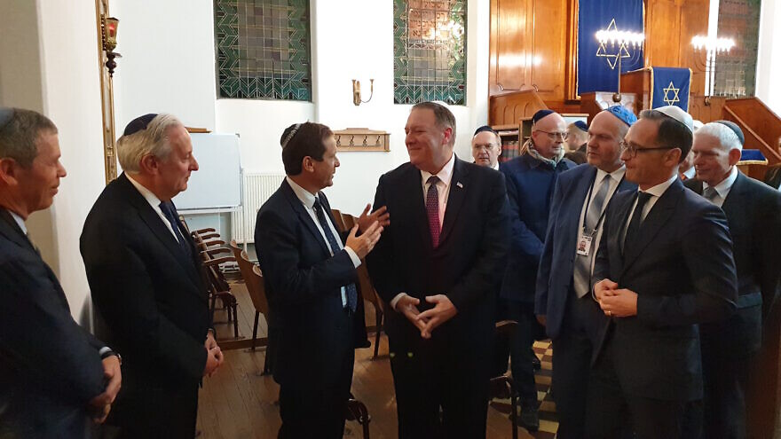 U.S. Secretary of State Mike Pompeo speaking with Jewish Agency chairman Isaac Herzog (left) and German Foreign Minister Heiko Maas at the synagogue in Halle, Germany, that was attacked on Yom Kippur, Nov. 7, 2019. Credit: The Jewish Agency for Israel.