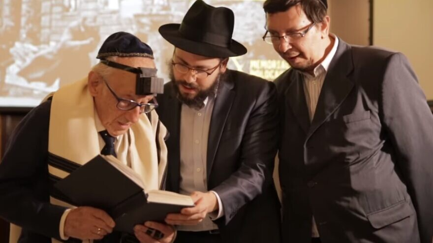Andor Stern, a 91-year-old Brazilian Holocaust survivor, during his recent bar mitzvah ceremony. Source: Screenshot.