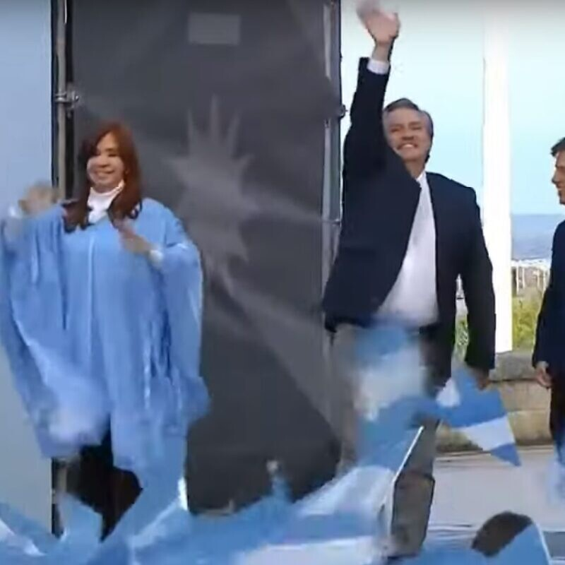 Argentina's newly election president Alberto Fernandez and Vice President Cristina Fernandez de Kirchner. Source: Screenshot.