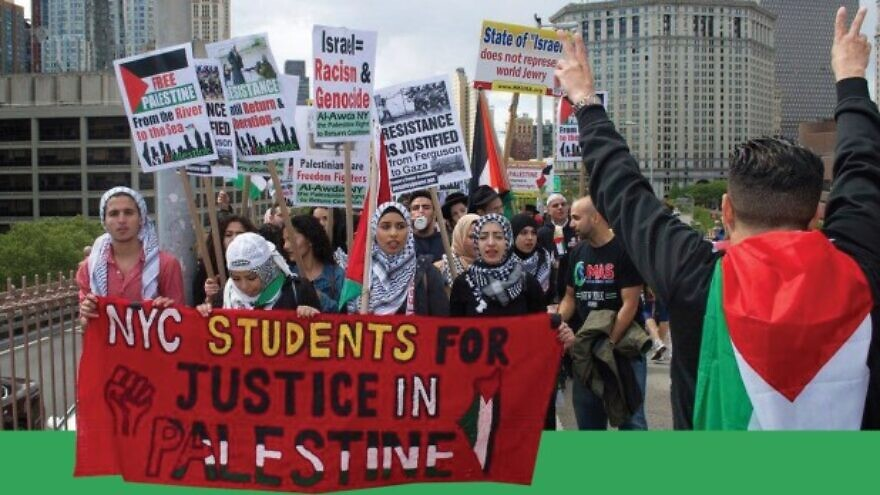 New York Students for Justice in Palestine marching. Source: JCPA.