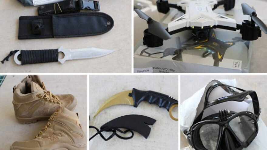 Some of the dual-use goods confiscated by Israel at the Erez Border Crossing into the Gaza Strip. Among them were military and electronic equipment such as skimmers, knives, scuba gear, drones, satellite communications equipment, binoculars and more. Source: Office of the Coordinator of Government Activities in the Territories.