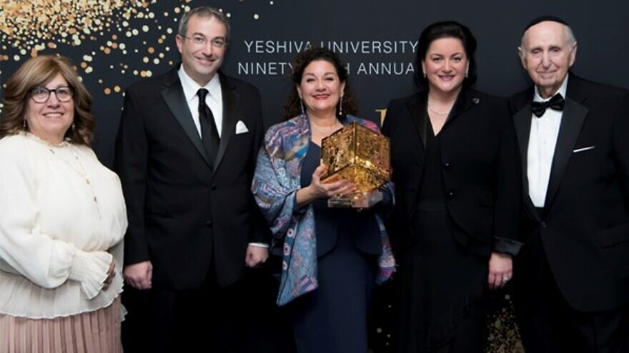 From left: Rona Novick, dean of the Azrieli Graduate School of Jewish Education and Administration; Ari Berman, president of Yeshiva University; Sharon Azrieli; Naomi Azrieli, chair of the Azrieli Foundation; and Herbert Dobrinsky, vice president for university affairs, Dec. 8. 2019. Credit: YU News.