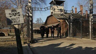 German Chancellor Angela Merkel at Auschwitz-Birkenau on Dec. 6, 2019. Source: Auschwitz Memorial via Twitter.