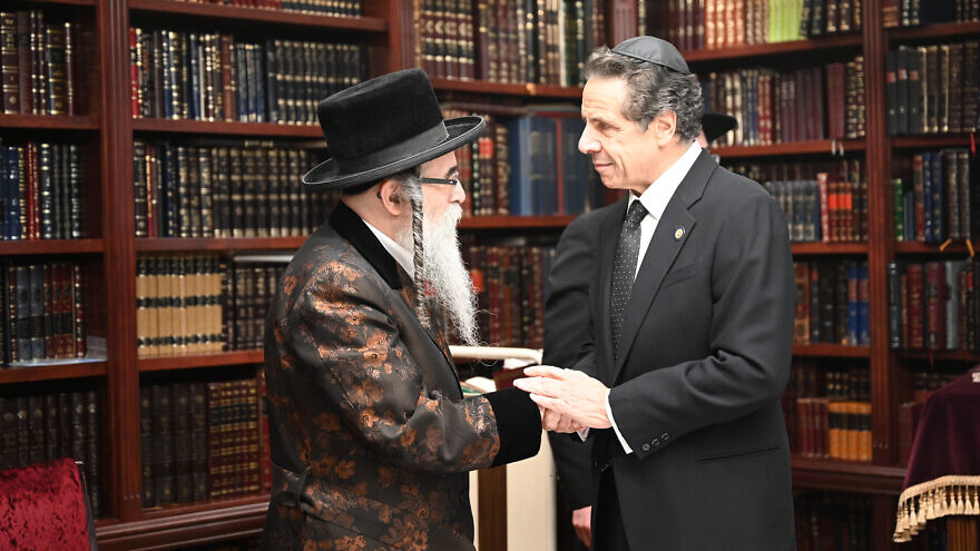 New York Gov. Andrew Cuomo meets with of Rabbi Chaim Rottenberg in Monsey, N.Y., after a stabbing attack at his home and shul on Dec. 28, 2019, the seventh night of Hanukkah. Source: Andrew Cuomo via Twitter.