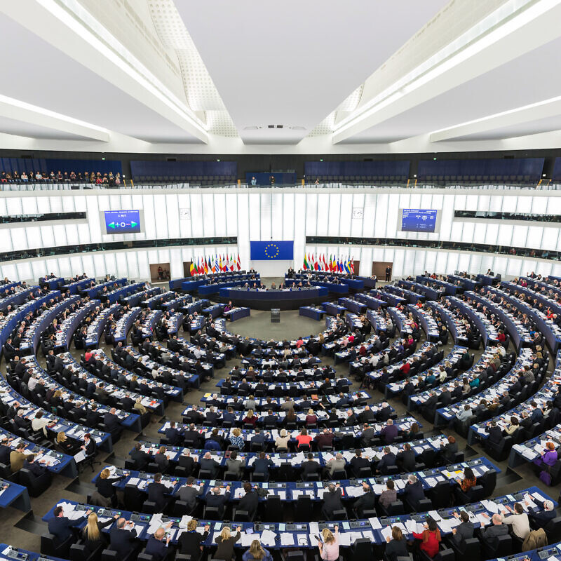 The Hemicycle of the European Parliament in Strasbourg, France, during a plenary session, Feb. 5, 2014. Credit: Wikimedia Commons.