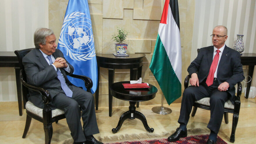 U.N. Secretary-General António Guterres meets with Palestinian Authority Prime Minister Rami Hamdallah in the West Bank city of Ramallah, Aug. 29, 2017. Photo by Flash90.