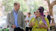 Prince William, Duke of Cambridge walks with Eurovision Song Contest 2018 winner Netta Barzilai on Rothschild Boulevard in Tel Aviv on June 27, 2018. Photo by Marc Israel Sellem/POOL.