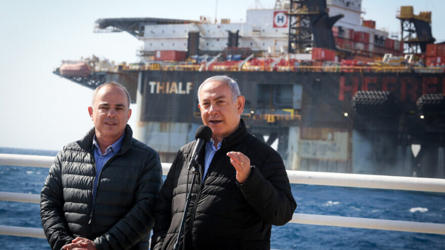 Israeli Prime Minister Benjamin Netanyahu and Israeli Energy Minister Yuval Steinitz visit a gas processing rig at Israel's Leviathan gas field, on Jan. 31, 2019. Photo by Marc Israel Sellem/POOL.