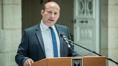 Naftali Bennett speaks during exchange ceremony of ministers, held at the Ministry of Education in Jerusalem, on June 26, 2019. Photo by Yonatan Sindel/Flash90