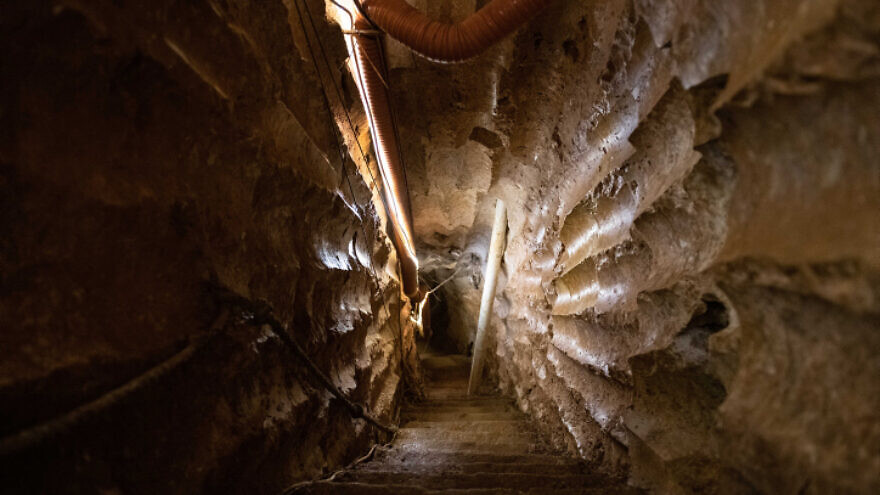 A Hezbollah tunnel running under the Lebanon-Israel border, July 7, 2019. Photo by Sraya Diamant/Flash90.