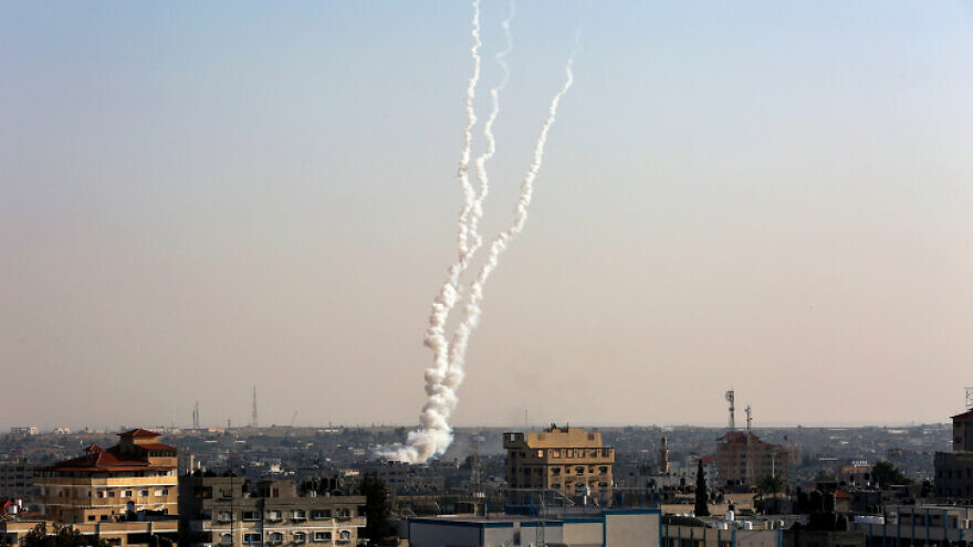 The smoke trails of rockets fired from the Gaza Strip towards Israel, on Nov. 12, 2019. Photo by Abed Rahim Khatib/Flash90.