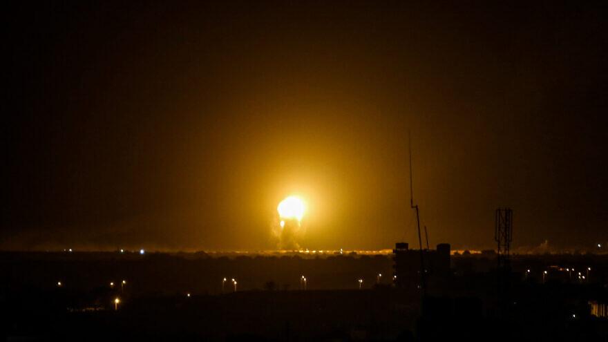 A ball of fire is seen following an Israeli air strike in Khan Yunis, in the southern Gaza Strip on Nov. 27, 2019. Photo by Abed Rahim Khatib/Flash90.