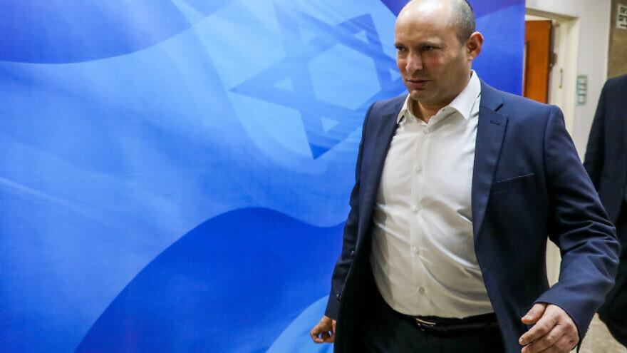 Israeli Defense Minister Naftali Bennett arrives at the weekly Cabinet meeting in Jerusalem, on Dec. 1, 2019. Photo by Marc Israel Sellem/POOL.