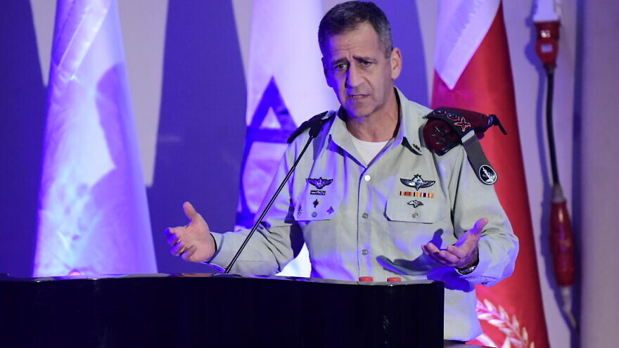 IDF Chief of Staff Aviv Kochavi at a ceremony for outstanding soldiers in the IDF Technology Unit, at the Glilot army base, on December 02, 2019.  Photo by Tomer Neuberg/Flash90