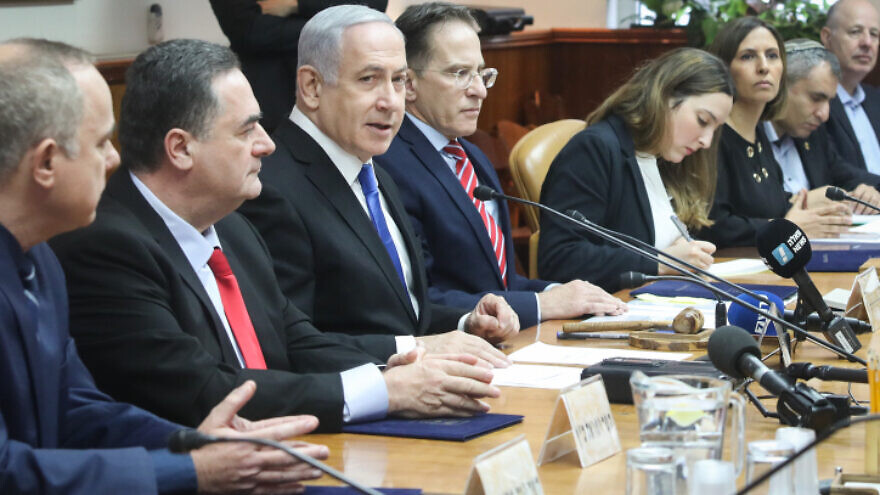 Israeli Prime Minister Benjamin Netanyahu leads the weekly cabinet meeting, at the Prime Minister's Office in Jerusalem on Dec. 8, 2019. Photo by Marc Israel Sellem/POOL.