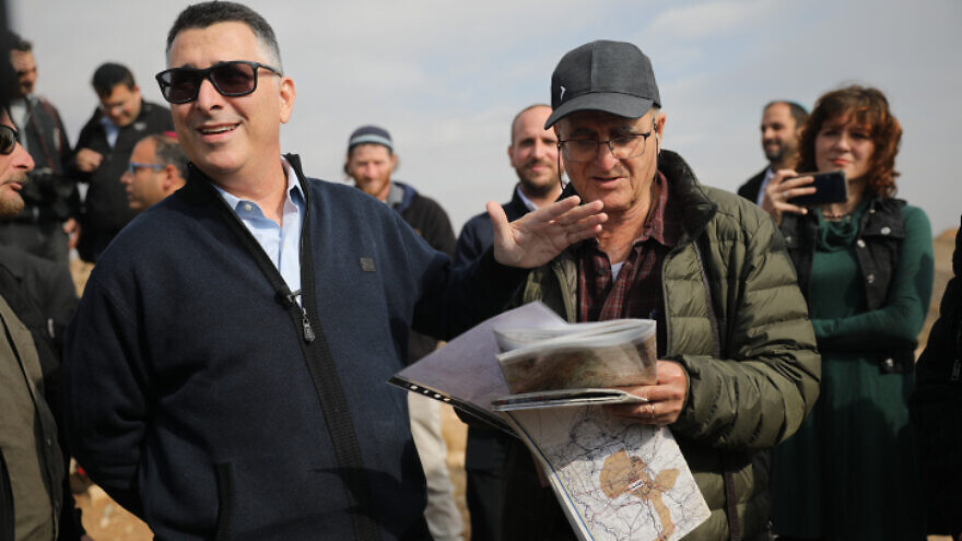 Likud Knesset member Gideon Sa'ar visits the area of the West Bank known as E1 near the town of Ma'ale Adumim, on Dec. 10, 2019. Photo by Hadas Parush/Flash90.