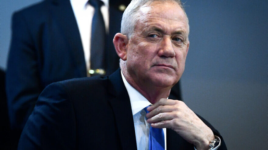 Blue and White Party chairman Benny Gantz attends a faction meeting in Tel Aviv on Dec. 12, 2019. Photo by Flash90.