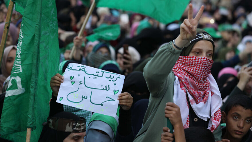 Palestinian women attend a mass rally marking the 32nd anniversary of the founding of Hamas, in the Gaza Strip, Dec. 14, 2019. Photo by Hassan Jedi/Flash90.