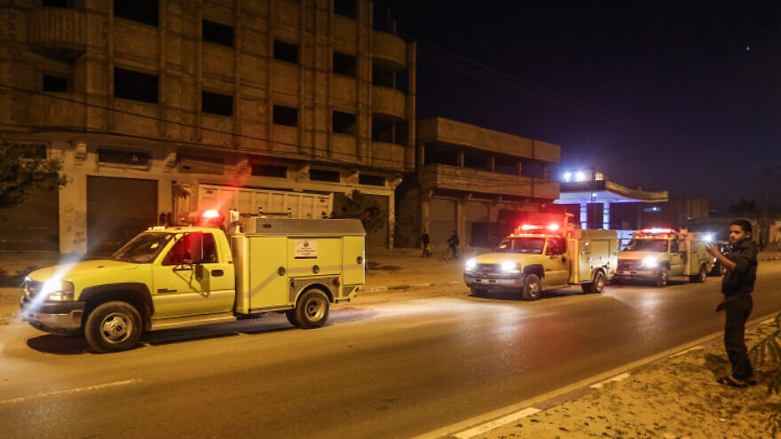 Civil-defense and firefighting vehicles donated to the Gaza Strip by Qatar enter the coastal territory from Israel through the Kerem Shalom crossing on Dec. 17, 2019. Photo by Abed Rahim Khatib/Flash90.