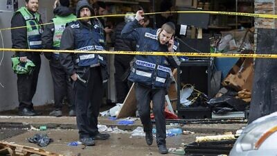 Damage and a Jewish community on edge after a shooting at the JC Kosher Supermarket in Jersey City, N.J., on Dec., 10, 2019. Credit: NBS News.