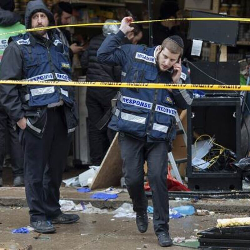 Damage and a frightened Jewish community on edge after a shooting at the JC Kosher Supermarket in Jersey City, N.J., on Dec., 10, 2019. Credit: NBS News.
