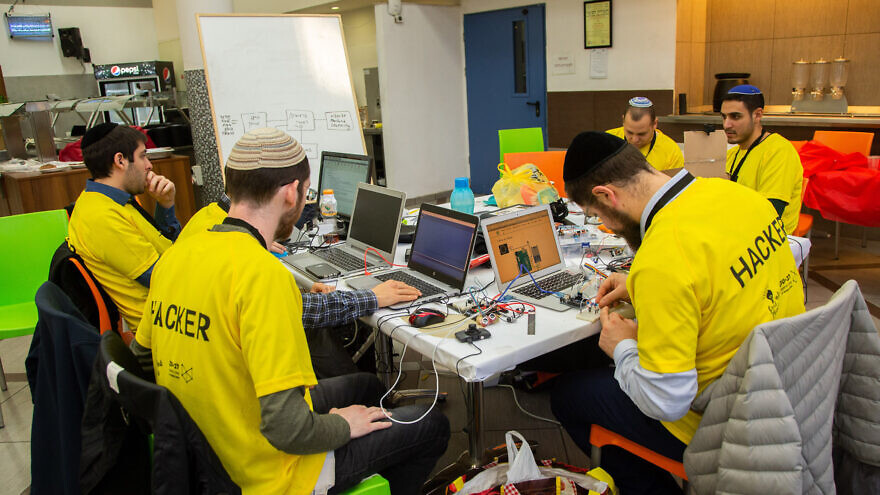 "Hard at work during the fourth annual Jerusalem College of Technology (Machon Lev) ""Great Minds Hackathon,"" December 2019. Photo by Michael Erenburg."