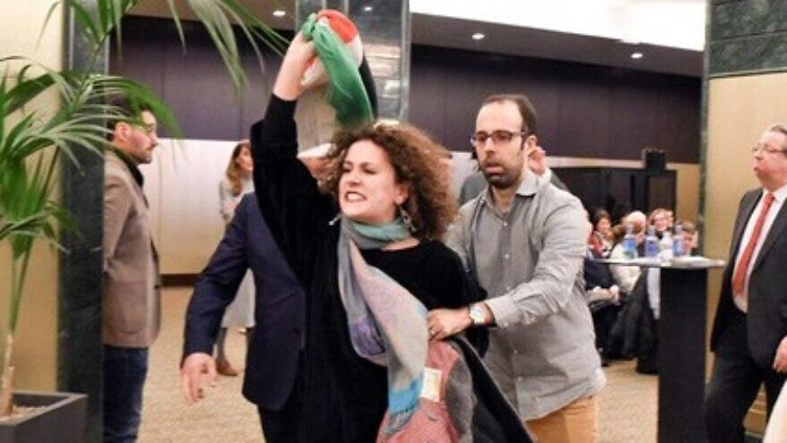 Pro-BDS rioters at the Intercontinental Hotel in Madrid on Dec. 10, 2019.  Source: Twitter/Photo by Javier Shechtman.