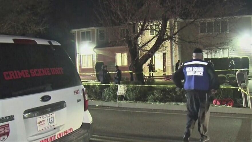 Police monitor the scene in the aftermath of a stabbing attack at the home of Rabbi Chaim Rottenberg in Monsey, N.Y., on Dec. 28, the seventh night of Hanukkah. Source: Screenshot.