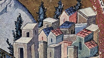 Nazareth as depicted on a Byzantine mosaic (Chora Church, Constantinople). Credit: Wikimedia Commons.
