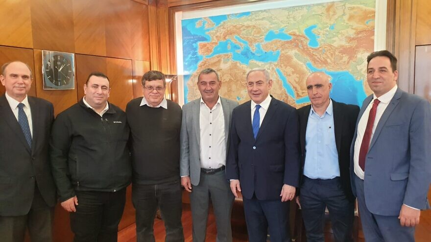 Israeli Prime Minister Netanyahu meets with Druze and Circassian local council leaders on Dec. 26, 2019. Credit: Prime Minister's Media Adviser.
